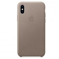 Чехол-накладка Apple для iPhone Xs, кожаный, платиново-серый, фото 1