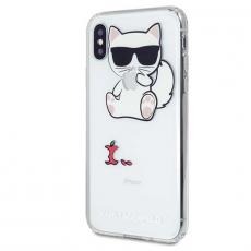 Чехол-накладка Lagerfeld Choupette для iPhone X/Xs, силикон, прозрачный, фото 2