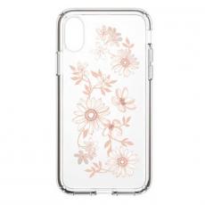 Чехол-накладка Speck Presidio Clear Fairytalefloral Peach для iPhone X/Xs, поликарбонат, золотой / прозрачный, фото 1