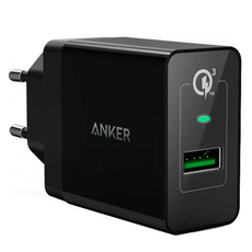 Сетевое зарядное устройство Anker PowerPort+, 1 USB, 18W, 3A, кабель на Micro-USB, чёрное, фото 1