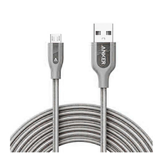Кабель Anker Powerline+, с USB-A на Micro-USB, 1.8 метра, кевлар, 6000+ перегибов, серый, фото 1