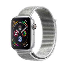 """Apple Watch Series 4, 44 мм, серебристый корпус, спортивный браслет """"белая ракушка"""", фото 1"""