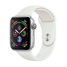 Apple Watch Series 4, 44 мм, серебристый корпус, белый спортивный ремешок, фото 1