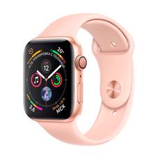 """Apple Watch Series 4, 44 мм, золотистый корпус, спортивный ремешок """"розовый песок"""", фото 1"""