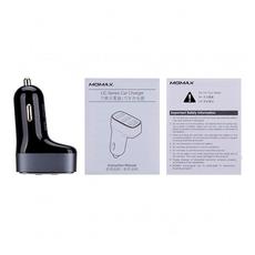 Автомобильное зарядное устройство Momax Polar Light Series Car Charger, 3 USB-А, 4.4A, чёрный, фото 3