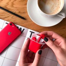 Беспроводные наушники Apple AirPods Color,красные матовые, фото 3