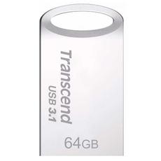 Внешний накопитель Transcend JetFlash 710, USB-A, 64 Гб, серебристый, фото 1