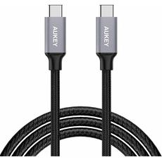 Кабель Aukey, с USB-С на USB-C, 2 м, серый, фото 1