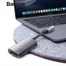 Переходник Baseus Little box, с USB-C на HDMI+USB-C, серый, фото 2