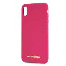 Чехол-накладка Lagerfeld Silver logo для iPhone Xs Max, силикон, розовый / золотистый, фото 1