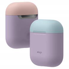 Чехол силиконовый Elago DUO для AirPods, лавандовый, крышка голубая и розовая, фото 1