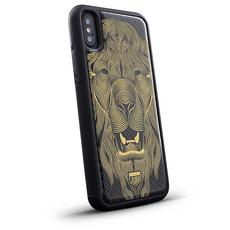 """Эксклюзивный чехол Jumo Case для iPhone X, карбон, никель с позолотой 24К, """"Лев"""", фото 1"""