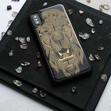 """Эксклюзивный чехол Jumo Case для iPhone X, карбон, никель с позолотой 24К, """"Лев"""", фото 2"""