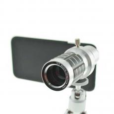 Объектив Magnifier Zoom Aluminum для iPhone, с триподом, серебристый, фото 1