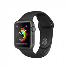 """Apple Watch Series 1, 38 мм, корпус из алюминия цвета """"серый космос"""", спортивный ремешок чёрного цвета (MP022)"""