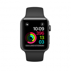Apple Watch Series 1, 42 мм, корпус из алюминия цвета «серый космос», спортивный ремешок чёрного цвета, фото 1