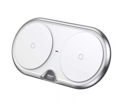 Беспроводное зарядное устройство Baseus Dual Wireless Charger, на 2 устройства, серебристый, фото 1