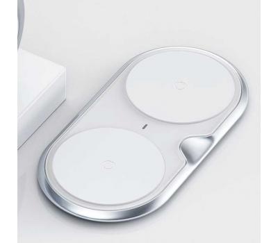 Беспроводное зарядное устройство Baseus Dual Wireless Charger, на 2 устройства, серебристый, фото 3