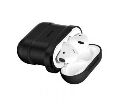 Чехол с держателем Baseus для наушников Apple AirPods, черный, фото 3