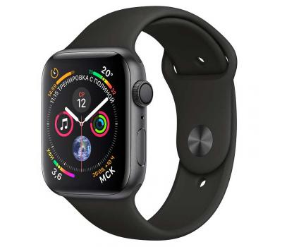 """Apple Watch Series 4, 44 мм, корпус из алюминия цвета """"серый космос"""", спортивный ремешок черного цвета, фото 1"""