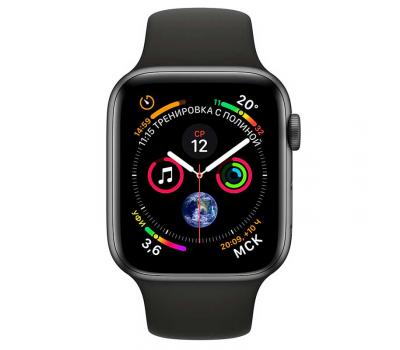 """Apple Watch Series 4, 44 мм, корпус из алюминия цвета """"серый космос"""", спортивный ремешок черного цвета, фото 2"""