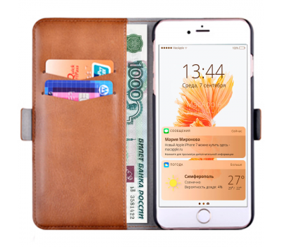 Чехол-книжка Devia Magic Leather Case 2 в 1 для iPhone 6/6S.коричневый., фото 1