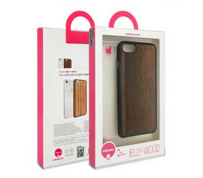 Набор из двух чехлов Ozaki Jelly и Ozaki Wood. для iPhone 7, прозрачный и темно-коричневый, фото 3