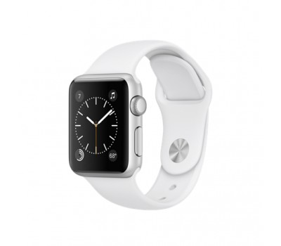 Apple Watch Series 1, 38 мм, корпус из серебристого алюминия, спортивный ремешок белого цвета (MNNG2)