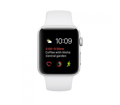 Apple Watch Series 1, 42 мм, корпус из серебристого алюминия, спортивный ремешок белого цвета, фото 1