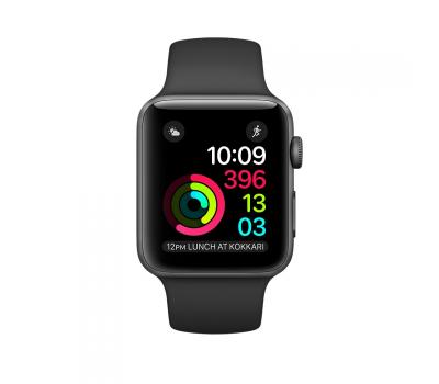 """Apple Watch Series 1, 42 мм, корпус """"серый космос"""", чёрный спортивный ремешок, фото 1"""