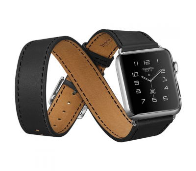 Фото ремешка для Apple Watch 42mm HOCO Platinum Lederen Black